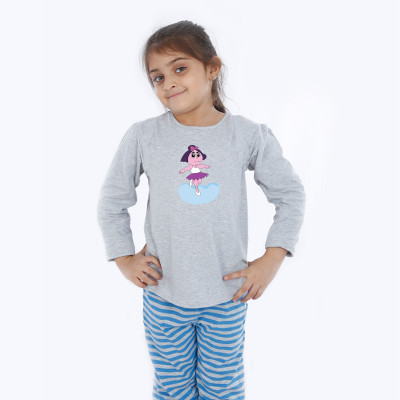 Grey Full Sleeve Girls Pyjama - Ballet
